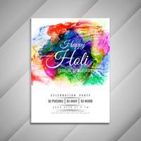 Abstract Happy Holi viering kleurrijke flyer ontwerpsjabloon