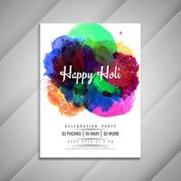 Abstracte Happy Holi viering flyer ontwerpsjabloon