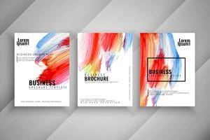 Abstracte stijlvolle kleurrijke drie business brochure set