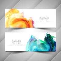 Abstract modern colorful watercolor banners template set