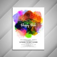 Plantilla de diseño de volante colorido abstracto feliz Holi celebración
