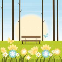 Vector ilustración paisaje de primavera