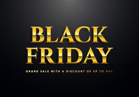Black Friday lettres d'or vector illustration