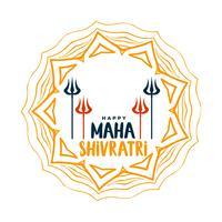 joyeux maha shivratri salutation décorative avec art trishul et mandala
