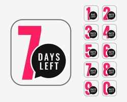 numero di giorni lasciati design banner promozionale