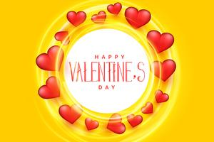 happy valentines day 3d hearts frame background