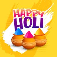 happy holi festival greeting with bowl of gulal (powder color) background