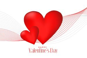 3d red hearts with line wave valentines day background