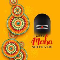 Maha shivratri festival salutation avec illustration shivling