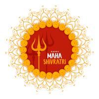 maha shivratri festival groet met trishul-symbool