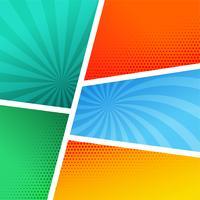 Plantilla de página de cómic vacío en diferentes colores y estilo