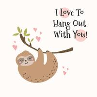 sloth in love vector