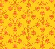 Seamless pattern with orange bees in Monoline style.