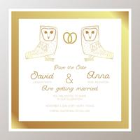 Romantic Wedding invitation with gold rings, owls.