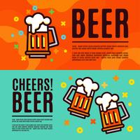 Beer in glass mugs. Set Banner