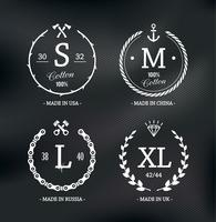 Wear Size Emblems vector