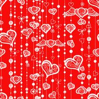 Seamless patterns of vintage hearts and lines with dots.