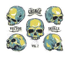 Grunge schedels vector set