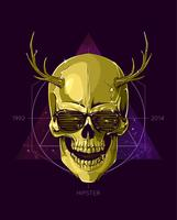 Hipster skull with horns