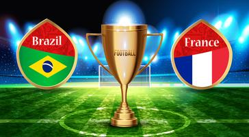Football cup in the soccer arena on a background of grass field. vector