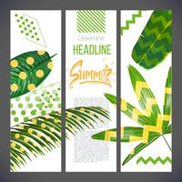 Banners with tropical leaves and geometric shapes, natural nature of fox palm trees