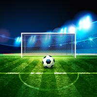 Soccer ball on goalie goal background.