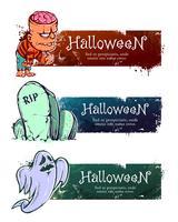 Banners de halloween desenhados à mão