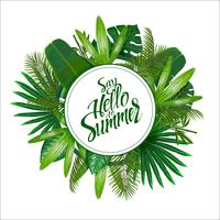 Tropical leaves around the circle on white background