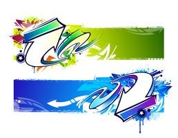 Two abstract graffiti banners vector