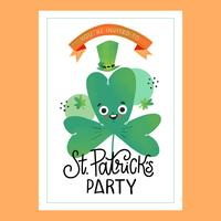 St. Patrick`s day Card With Clover Character With Lettering