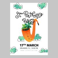 Cute Flyer St. Patricks Day With Pipe With Clovers Inside, Clouds And Lettering