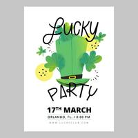 St. Patrick's Day Flyer Wth Irish Hat, Clovers And Lettering