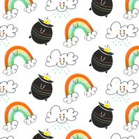 Cute Irish Pattern With Cloud, Irish Pot And Rainbow Character