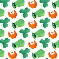 Cute Irish Pattern With Clover, Orange Beard And Irish Hat