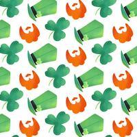 Padrão irlandês bonito com trevo, barba laranja e chapéu irlandês