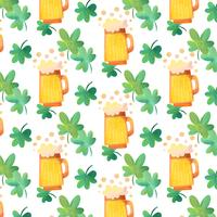 Cute Irish Pattern With Beer, Bubbles And Clovers