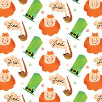 Cute Irish Pattern With Irish Hat, Ginger Man And Pipe With Smoke