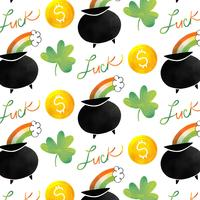 Cute Irish Pattern With Irish Pot, Rainbow, Coin And Clover