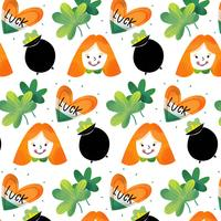 Cute IrishPattern con Black Pot con Ginger Girl, Clover, Heart e Irish Pot