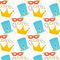Cute Carnival Pattern With Hat, Crown And Mask