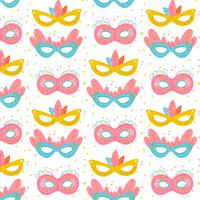 Cute Pattern With Colorful Carnival Masks