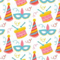 Cute Carnival Pattern With Drum, Mask And Hat