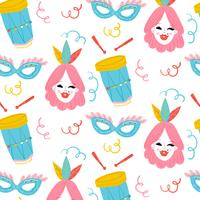 Cute Carnival Pattern With Woman, Drum And Mask