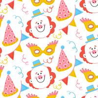 Cute Carnival Pattern With Happy Clown, Party Hat, Yelow Mask And Confetti