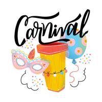 Cute Carnival Mask, Ballon, Drum And Lettering