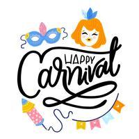 Söt karnevalbakgrund med mask, ingefäraflicka, fyrverkerier, flaggor och bokstäver