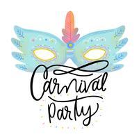 Masque de carnaval bleu avec ornements et plumes avec lettrage