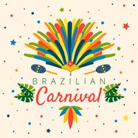 Colorful Brazilian Carnival With Leaves, Confetti, Maraca, Garota Hat And Feather