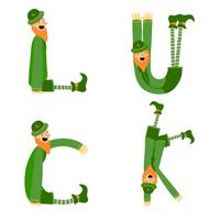 Cute Irish Character Collection With Letter Shape