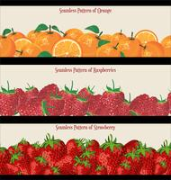 Seamless Pattern of Raspberries Strawberries and Oranges collection
